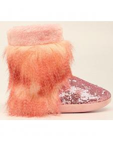 Blazin Roxx Pink Furry Sequin Slipper Booties