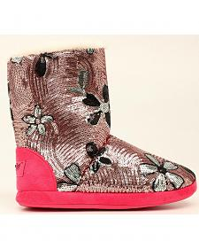 Blazin Roxx Floral Pink Sequin Slipper Booties