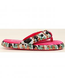 Blazin Roxx Camo Sequin Flip Flop Slippers