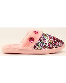 Blazin Roxx Colorful Sequin Scuff Slippers
