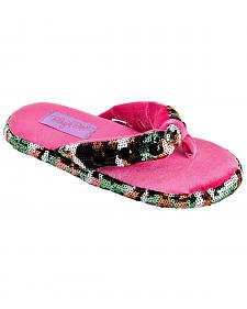 Blazin Roxx Youth Girls' Sequin Camo Flip Flop Slippers