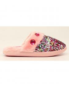 Blazin Roxx Girls' Colorful Sequin Scuff Slippers