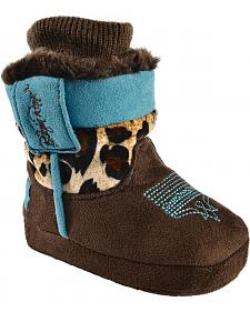 Blazin Roxx Infant Girls' Leopard Print Cowgirl Bootie Slippers