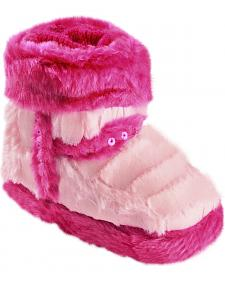 Blazin Roxx Infant Girls' Star Pink Plush Bootie Slippers