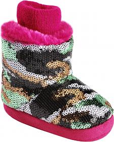 Blazin Roxx Infant Girls' Sequin Camo & Pink Plush Bootie Slippers