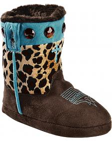 Blazin Roxx Girls' Cross Leopard Print Bootie Slippers