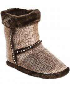 Blazin Roxx Youth Girls' Brown Croc Print Plush Bootie Slippers