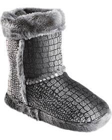 Blazin Roxx Girls' Silver Croc Print Plush Bootie Slippers
