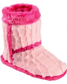 Blazin Roxx Youth Girls' Plush Pink Star Bootie Slippers