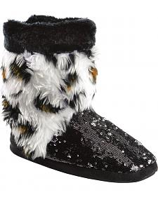 Blazin Roxx Youth Girls' Plush Leopard Print Sequin Bootie Slippers
