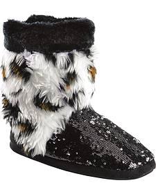 Blazin Roxx Youth Girls' Plush Leopard Print Sequin Bootie Slippers