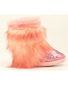 Blazin Roxx Girls' Pink Sequin Fur Slipper Booties