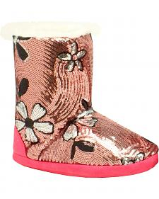Blazin Roxx Youth Floral Sequin Slipper Booties