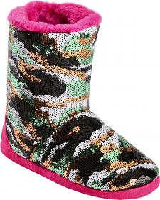 Blazin Roxx Girls' Sequin Camo Bootie Slippers