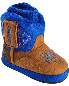 Double Barrel Infant Boys' Brown & Blue Cowboy Bootie Slippers