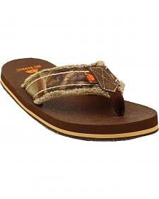 Double Barrel Men's Mossy Oak Strap Flip Flops