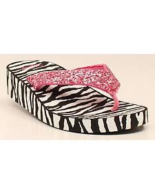 Blazin Roxx Girls' Zoe Zebra Flip Flops