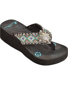 Montana West Beaded Aztec Embellished Sandals