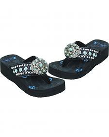 Montana West Women's Studded Turquoise Concho Flip Flops