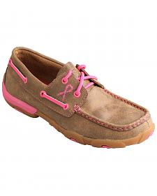 Twisted X Women's Tough Enough to Wear Pink Lace-Up Driving Mocs