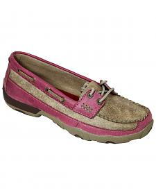 Twisted X Women's Tan and Pink Driving Mocs
