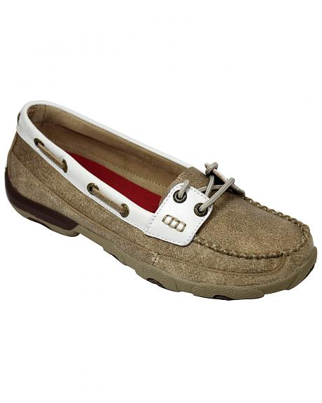 Twisted X  Women's Tan and White Driving Mocs