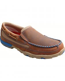 Twisted X Women's Brown and Blue Leather Driving Mocs