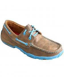 Twisted X  Women's Brown and Neon Blue Driving Mocs
