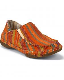 Tony Lama Women's Orange Striped 3R Casuals Canvas Shoes - Moc Toe