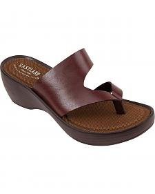 Eastland Women's Brown Laurel Wedge Thong Sandals