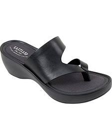 Eastland Women's Black Laurel Wedge Thong Sandals