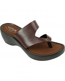 Eastland Women's Dark Brown Laurel Wedge Thong Sandals