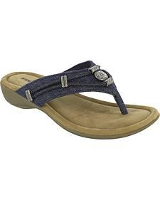 Minnetonka Women's Denim Silverthorne Thong Sandals
