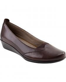 Eastland Women's Walnut Brown Harper Wedge Slip-Ons