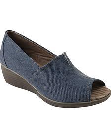 Eastland Women's Blue Denim Brooke Peep Toe Wedge Slip-Ons