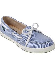 Eastland Women's Blue Stripe Canvas Skip Boat Shoe Slip-Ons