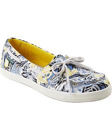 Eastland Women's Floral Canvas Skip Boat Shoe Slip-Ons