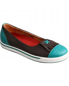 Twisted X Women's Turquoise & Chocolate Casual Slip-On Shoes