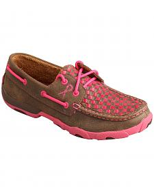 "Twisted X Women's ""Tough Enough to Wear Pink"" Check Driving Mocs"