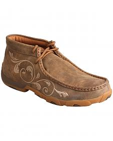 Twisted X Women's Embroidered Brown Lace-Up Driving Mocs