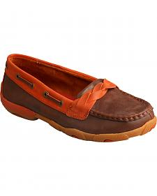 Twisted X Women's Brown & Orange Slip-On Driving Mocs