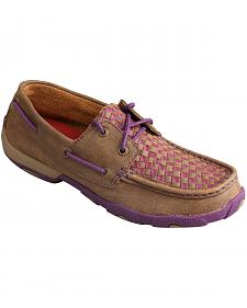 Twisted X Women's Bomber Brown & Purple Check Driving Mocs
