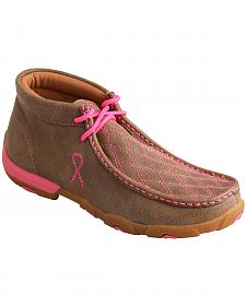 "Twisted X Women's ""Tough Enough to Wear Pink"" Lace-Up Driving Mocs"