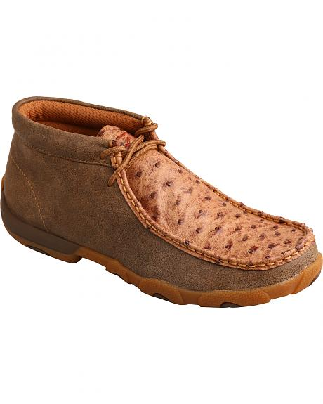 Twisted X Women's Full Quill Ostrich Lace-Up Driving Mocs