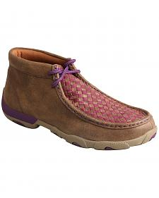 Twisted X Women's Brown & Purple Check Driving Mocs