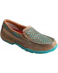 Twisted X Women's Bomber Brown & Turquoise Check Driving Mocs