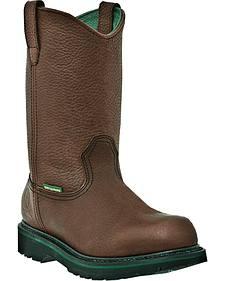John Deere Men's Waterproof Wellington Work Boots - Steel Toe