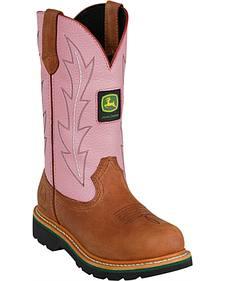 John Deere Crazyhorse Pink Cowgirl Boots - Round Toe