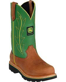 John Deere Crazyhorse Green Cowgirl Boots - Round Toe