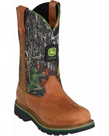 John Deere Camo Leather Cowgirl Boots - Round Toe